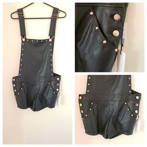 Gold Studded Overall Shorts